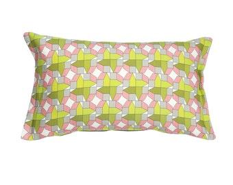 Rectangular cushion cover, teen room decor, pink and green cushion, decorative pillows, Scandinavian cushion, pastel cushion, room decor