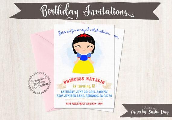 Princess Snow White Birthday Invitations, Customizable Princess, Girl Birthday Invitations, Fairy Tale Birthday, Printable, Party 060