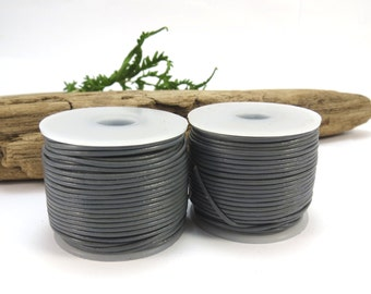 Grey Leather Cord, 5 Yards Leather Cord, 1mm Gray Leather Cord, Leather Necklace Cord, Beading Supplies,Item 641ct