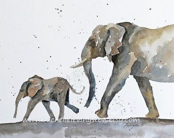 Baby Elephant Art PRINT Elephant Nursery PRINT of Elephant Baby Print watercolor painting of elephant Childrens zoo Baby Elephant toddler