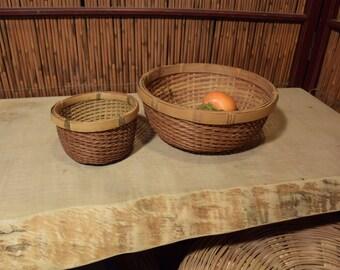 Vintage Japanese Bamboo Basket Set of 2