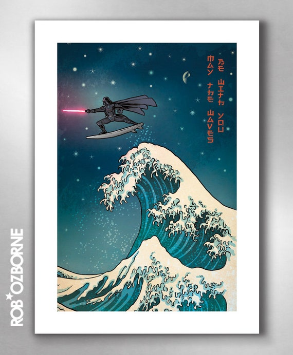 SURFS UP VADER - Great Wave Inspired May the Waves Be with You - Art Print by Rob Ozborne