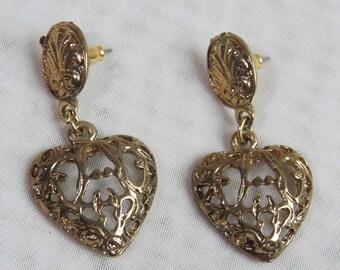 Vintage GOLD FILIGREE HEART Earrings 1990s, pierced