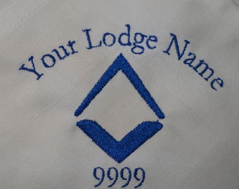 Masonic Napkin Square and Compass with your Your name, lodge Name & number