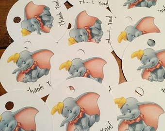 12 Disney Inspired Dumbo Party Thank You Tags (can be personalized)