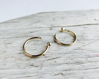 Gold hoops. Solid 14k gold earrings. Small hoops.