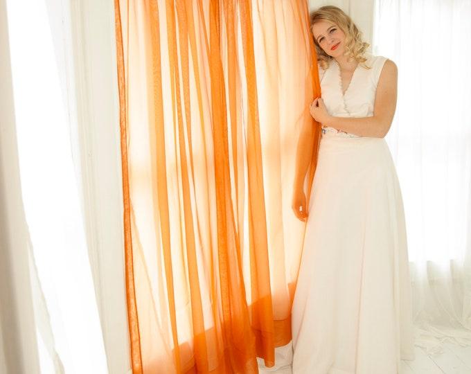 Vintage sheer orange curtains set, solid transparent burnt long pair, retro 1970s home decor gift