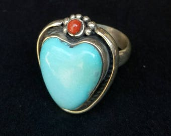 Handmade Sterling Silver and Turquoise Heart Shaped Ring - Turquoise heart Ring - Boho Turquoise and Red Coral Sterling Statement - Size 6.5