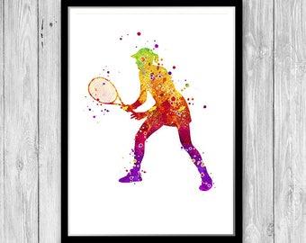 Girl Tennis Player Print Sport Club Watercolor Wall Art Decor Birthday Present for Girlfriend Teen Room Sport Decor Tennis gifts for women