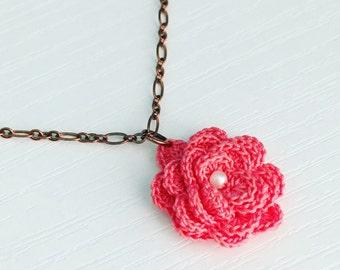 Hyde Park Crochet Necklace in Azalea Pink, Crochet Flower, Flower Pendant, Mother's Day Gift, Gift Under 30, Boho Style, Rose Pendant