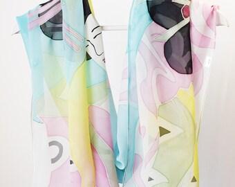 Geisha silk scarf,Japanese silk scarf,Hand painted silk scarf,Chiffon silk scarf,large silk scarf,Unique handpainted scarf,AnaSilkDesign