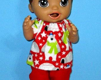 Snackin Luke, Baby Alive Luke Clothes, Baby Alive Sweet Spoonfuls, Polar Bear Pajama Set, Boy Doll Clothes, 12 13 inch Doll Clothes, Outfit