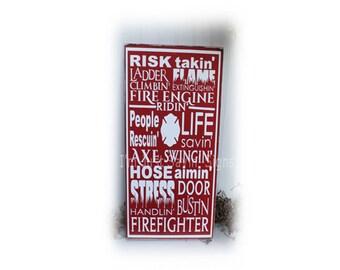 Fireman Wood Subway Art Sign