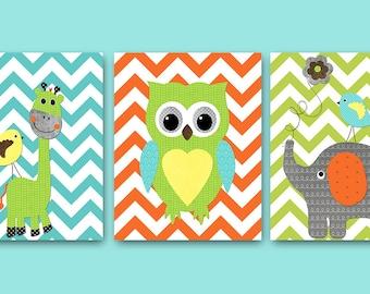 Owl Decor Giraffe Nursery Elephant Nursery Baby Boy Nursery Art Decor Nursery Wall Art Kids Room Decor Kids Art set of 3 Orange Blue