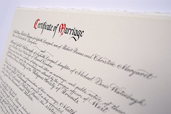 Quaker marriage certificate in calligraphy