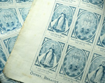 4pcs SCAPULAR CLOTH SQUARES 1890s Jesus & Mary Dutch