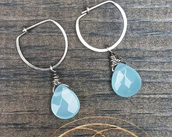 Amazonite & Sterling Silver Hoop Earrings