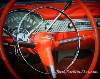 Behind the BelAir  Wheel - Rustic Wall Art - Classic Car Art Prints - Retro Print - Vintage Car Photography - Garage Art - Red - 8x10