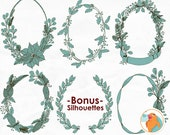 Christmas Wreath Line Art Hand Drawn Illustration Holiday Outline ClipArt Photoshop Brush Pine Cone Holly Ribbons