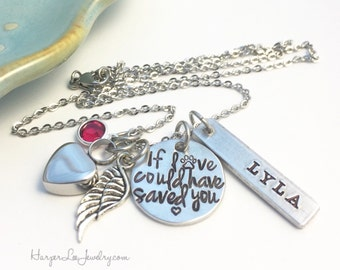 Cremation Urn Pendant Necklace ~ If loved could have saved you ~ Custom Pet Loss Remembrance Memorial Necklace - Angel Wing ~ Birthstone