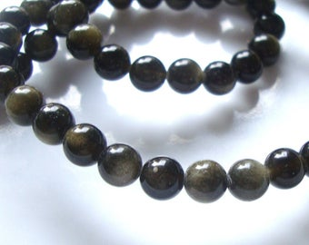 16 inch strand, 68 beads, 6 mm natural golden sheen obsidian smooth round Beads, B-0031