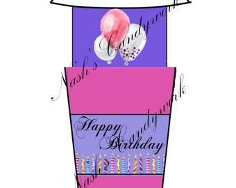 Coffee Tumbler Happy Birthday Gift Card Holder-Coffee Gift Card Holder-Money Envelope-Coffee Gift Card Holder-Cash Holder-Gift Card Holder