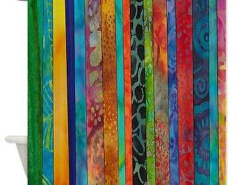 Boho Chic Shower Curtain - rich Jewel tone batik stripe,  blue, green, red, gold