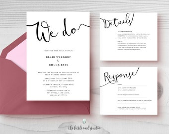 PRINTABLE We do Wedding Invitation Kit- Modern - Minimalist - Calligraphy - Typography - Black & white - Simple - Classic - PDF Only
