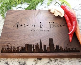 San Francisco City Skyline Design- Engraved Cutting Board, Custom Cutting Board, Wedding Gift, Housewarming Gift W-050 GB