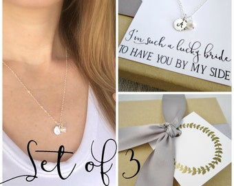 Personalized gift pearl necklace Bridesmaid necklace set of 3 necklaces Silver initial necklace Freshwater pearl Bridesmaid jewelry set of 3
