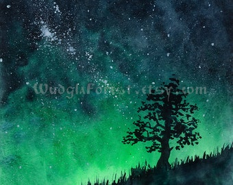 "Pagan art Druid fantasy art INSTANT DOWNLOAD Watercolor painting ""Lonely tree"" Woodland Nature lover gift Wicca Night sky Milky way Forest"