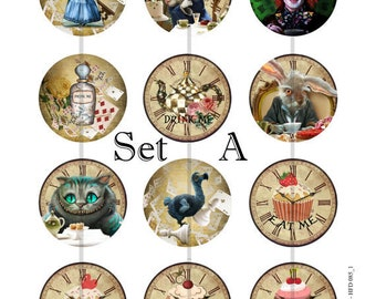 """Wonderland Clock Pins, Magnets or Flat Back Buttons, 1 inch, 1.25 inch, 2.25"""" inch, Different Designs Available, Choose your Set"""