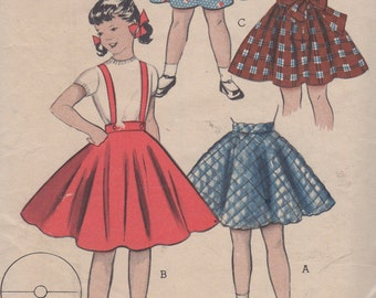 Sz 4-1950's Girls' Circle and Shirred Skirt Butterick 6604