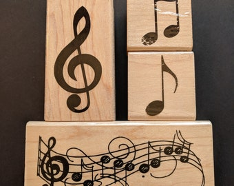 Music Wood Mounted Rubber Stamp Collection
