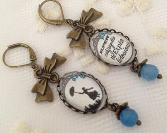 Mary Poppins cameo Earrings in blue.
