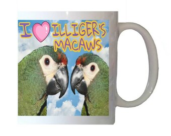 I Love Illiger's Macaws Blue-winged Parrot Blue Sky Clouds White 11oz Ceramic Coffee Mug
