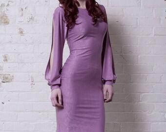 Light Mauve Bishop Sleeve Cocktail Dress-Made to Order (Sale)