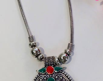 German Silver Necklace-Red