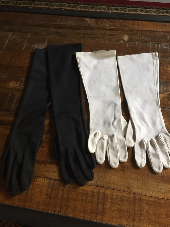 Two Pair of Vintage 1960s Midcentury Ladies Long Evening Gloves Black and White