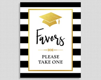 Graduation Favor Sign, Black & White Striped Graduation Party Sign, 8x10 inch, INSTANT PRINTABLE