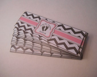 Baby Shower Cigar Bands - Custom Printed for you - Cigar Labels - Baby Feet - Couples Shower - Chevron