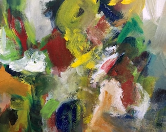 original abstract madern painting of figures and gestures on canvas