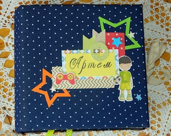 Baby boy memory book, Photo album, Baby boy photo album, Gift's album, Photo book, Handmade Scrapbook album, Personalized album