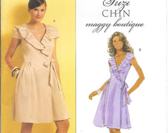 Butterick 5320 Suzi Chin Maggy Boutique Easy Lined Wrap Dresses with Side Seams Pockets (8-14)