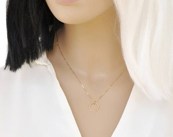 ON SALE Simple Circle Necklace, Hammered Eternity Necklace, Delicate Circle Necklace in 14k Gold Filled