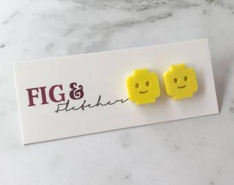Lego Person Studs, Lego Person Earrings, Lego Face Earrings, Lego Face Studs, Lego Earrings, Lego Studs, Lego Man, Lego Woman, Lego