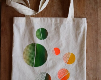 Space Rotation cotton tote bag | Hand screen printed carry all bag