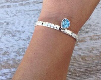 Swarovski bracelet, Swarovski and Zamak teardrop bracelet, swarovski tear bracelet