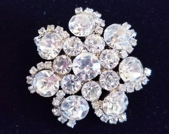 Large Silver Tone Clear Rhinestone Cluster Domed Brooch