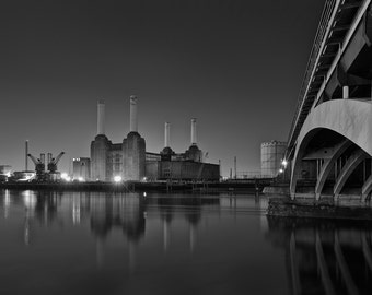 London Fine Art Photo Print: Lights Are On But Power Is Off, Battersea Power Station, Victoria Bridge and The Thames